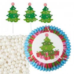 Caissettes à Muffins et Pics Décor Sapin de Noël