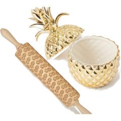 Rouleau à Pâtisserie Gravé en Bois Forme Ananas